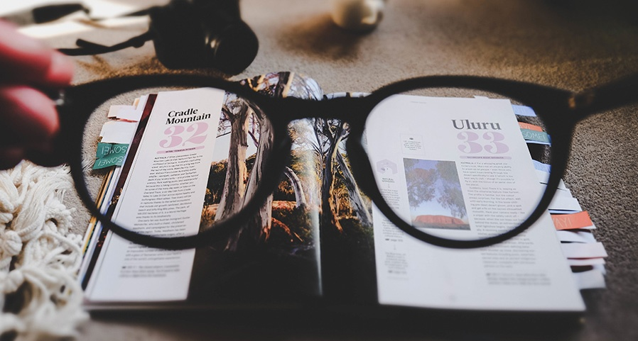 Glasses and magazines