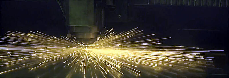Sparks flying in a machine shop